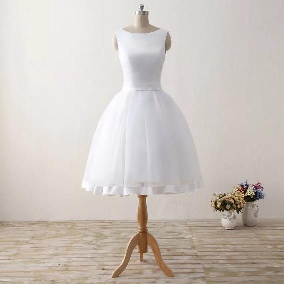Vestido De Noiva Curto Civil Ou Balada Modelo Chiara