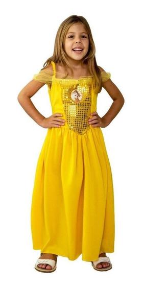 Disfraz Vestido Bella Y Bestia Lentejuela Princesa Disney