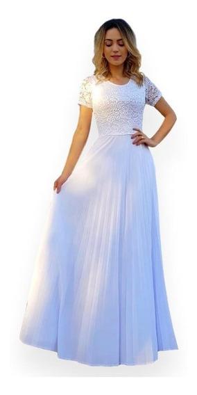 Vestido De Noiva Longo Branco Plissado Manga Curta + Brinde
