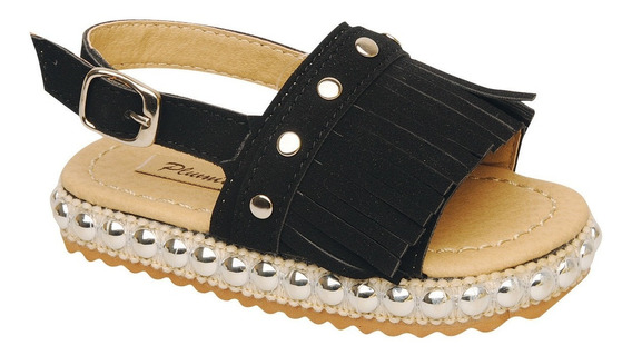 Sandalia Plumitas Oficial Con Flecos Negra Para Bebé