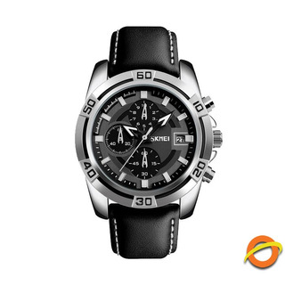 Reloj Analogico Skmei Caballero Cuero Cronometro Acero