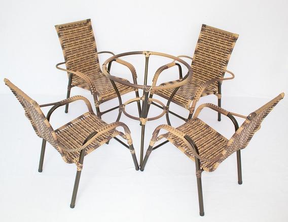 6 Cadeiras Vênus + 1 Mesa Com O Tampo Tramado