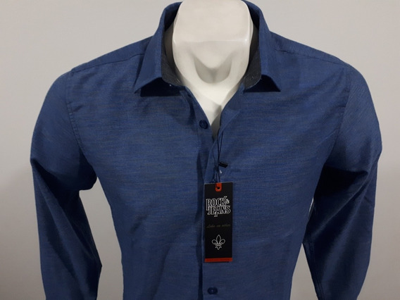 Camisa Rock And Jeans Slim Fit M/l 195744 Azul Culiacán Sin