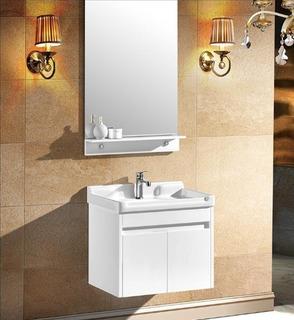 Mueble Vanitorio Aereo Lavamano Blanco Con Espejo / Nordik