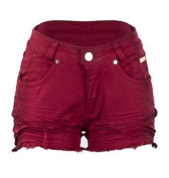 Promoção Kit De 2 Shorts Curto Colorido Feminino Botão Sarja