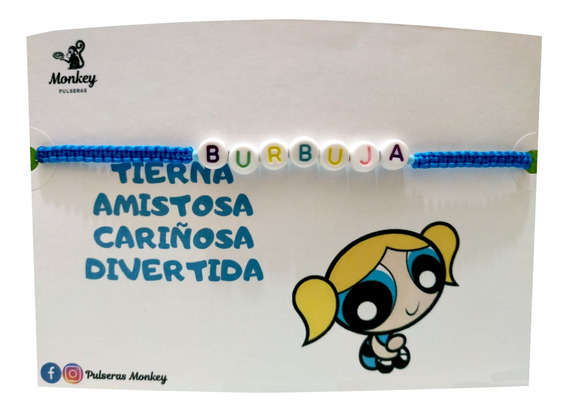Pulsera Burbuja Chicas Superpoderosas, Tejida Personalizada