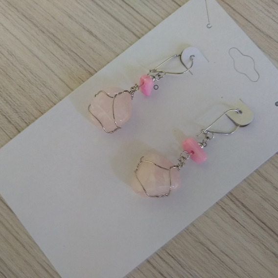 Brinco De Pedra Quartzo Rosa Ref: 6086