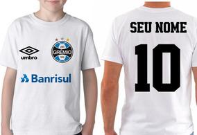 Camiseta Blusa Infantil Personalizada Seu Nome Time Grêmio