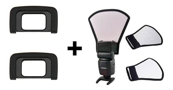 Kit 2x Ocular Eye Cup Dk-25 Nikon + Rebatedor Para Flash