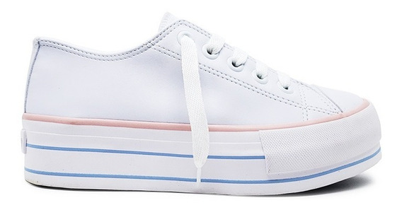 Tenis Feminino Casual Plataforma Capricho Branco/rose/azul
