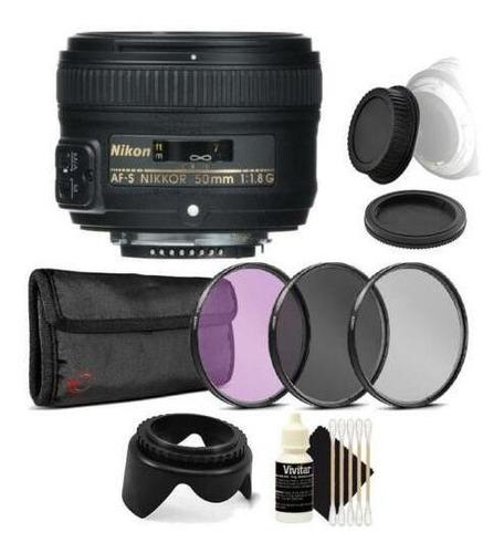 Lente Nikon Af S Nikkor 50mm F / 1.8g Con Paquete De Acce...