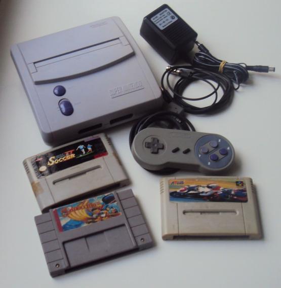 Super Nintendo Baby Com 3 Cartuchos - Funcionando