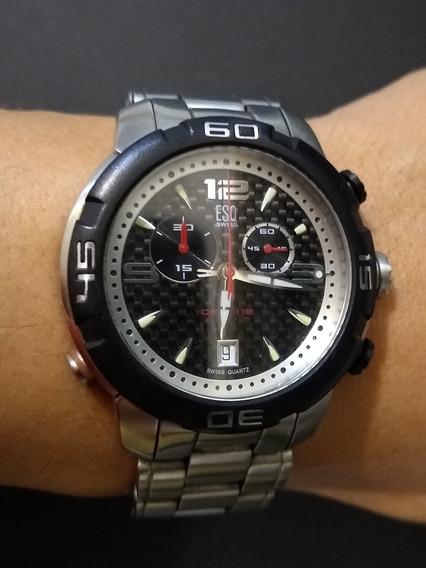 Relógio Movado Esq Crono Aço Lindo Octane Swiss Suíço Eta