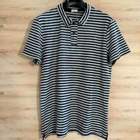 a4695fc247 ( M ) Camiseta Polo Osklen Fio Tinto - Preto Offwhite