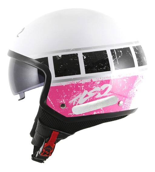 Capacete Ls2 Of561 Wave Rook Branco E Rosa