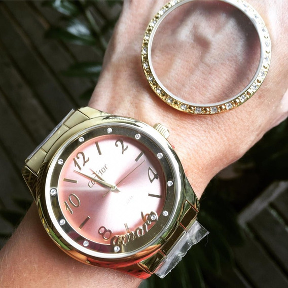 Relógio Feminino Dourado Condor Troca Aro Co2035kur/k4t