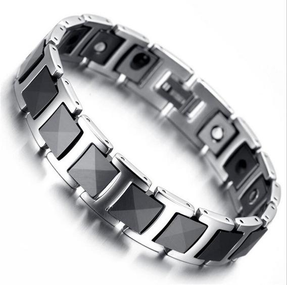 Pulseira Bracelete Aço Tungstênio Hematita Magnética Terapia
