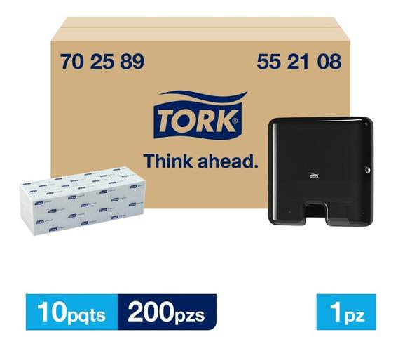 Tork Dispensador Mini + Interdoblada Univ Hd 10 Paq / 200 Pz