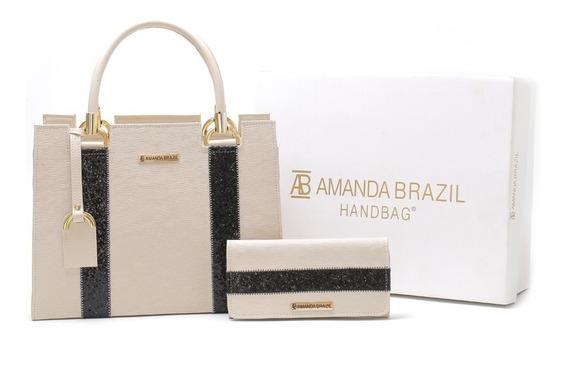 Bolsa Lorera Amanda Brazil Com Listras Pretas Lançamento !
