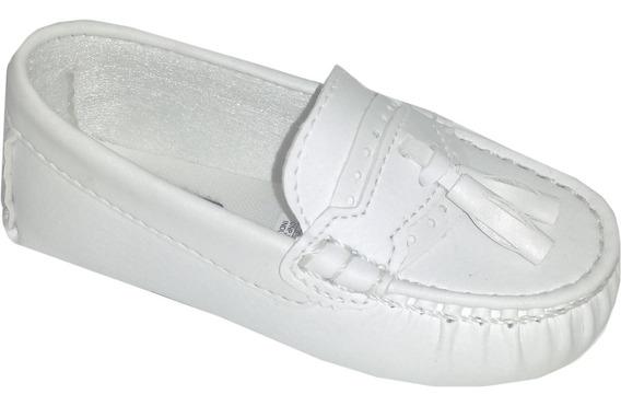 Mocassim Cravinho Sapato Social Infantil Batizado Branco