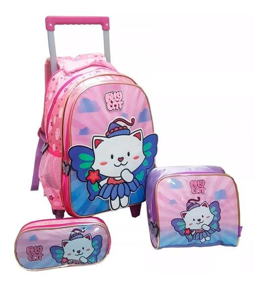 Kit Escolar Infantil Meninas Lilly Cat Com Rodinhas Novo