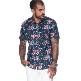 Camisa Forum Floral. Azul Marinho & Coral
