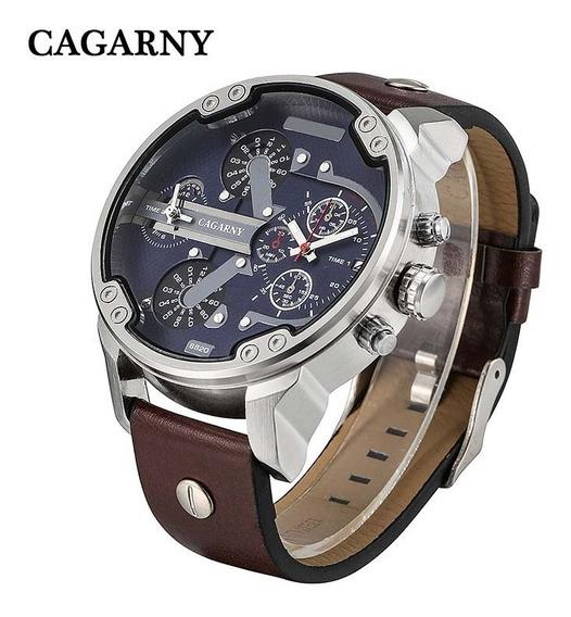 Relógio Masculino Cagarny Quartz Pulseira Couro Mod. Diesel