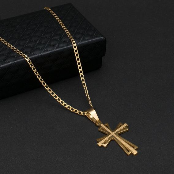 Corrente Cordão Zoe Crucifixo C-16d Aço Banhado Ouro 70cm