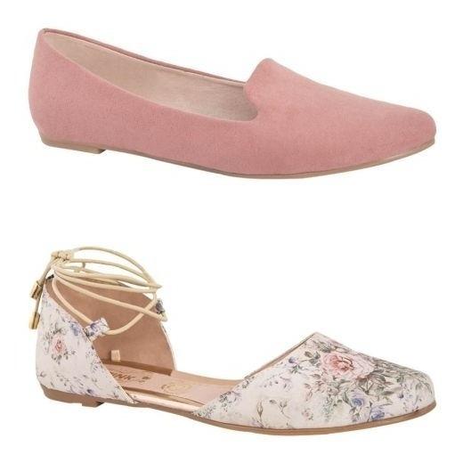 Kit De 2 Balerinas Pink 7145 Juvenil Floreada Y Rosa 175356