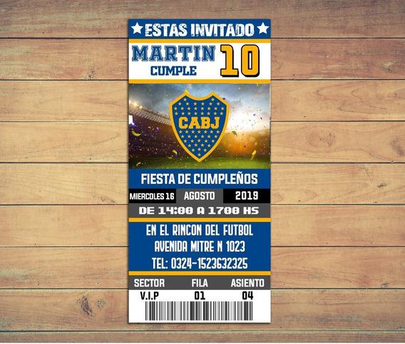 Invitaciones Boca Juniors - Texto Editable