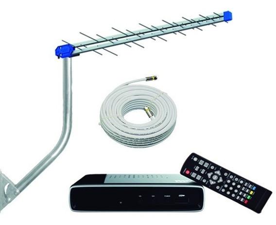 Kit 2conversor Digital Pro+1 Antena + Cabo + 1suporte