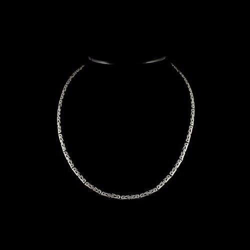 Cordão Corrente De Bali Ponto Peruano 70cm Prata 925 Maciça