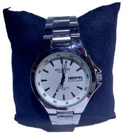 Relógio Atlantis Prata Fundo Branco Com Calendário - G3214