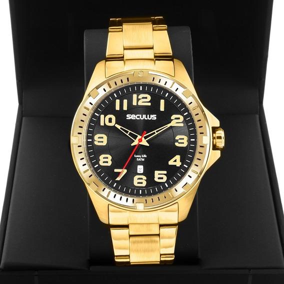 Relógio Masculino Seculus Dourado Long Life 20787gpsvda3