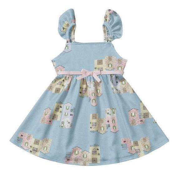 Vestido Infantil Playground Azul Com Estampa De Casinha