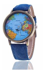 Relógio Mapa Mundi Avião