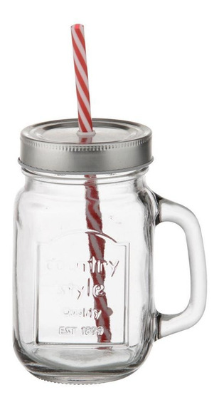Country Style Caneca C/canudo 450 Ml Incolor/inox
