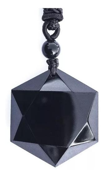Colar Obsidiana Arenito Hexagonal Vulcânico Precioso Natural