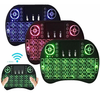 Mini Teclado Inalambrico Tv Box Touchpad Smart Tv Iluminado Colores + Receptor Usb Tablet Pc Tv Practico Recargable
