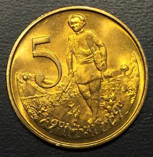 Eti004 Moneda Etiopia 5 Cents 1977 Unc-bu Ayff