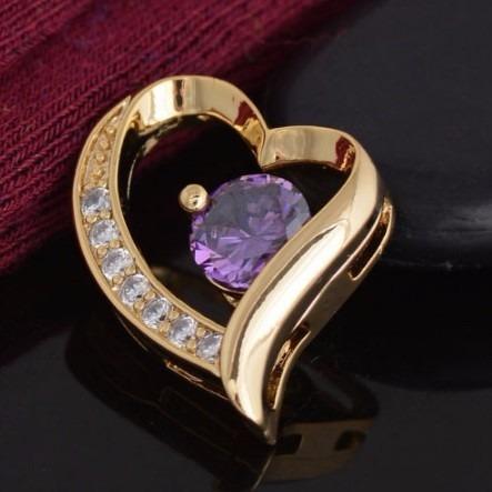 Dije Chapa Oro 18k Zirconia Violeta
