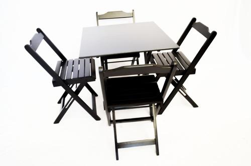 Conjunto Personalizado Mesa  70x70 + 4 Cadeiras Dobraveis