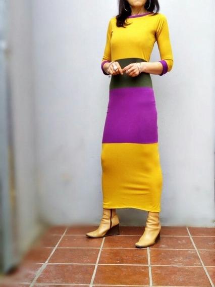 Maxi Vestido Tubo Mga 3-4 Talle Real Edición Limitada Caro-r