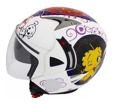 Capacete Nasa Helmets Betty Boop Sh-70 Branco 54