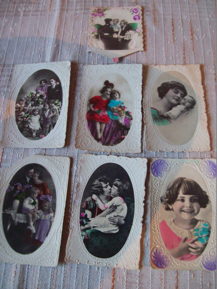 Lote De 7 Antiguas Tarjetas Postales Escenas Familiares