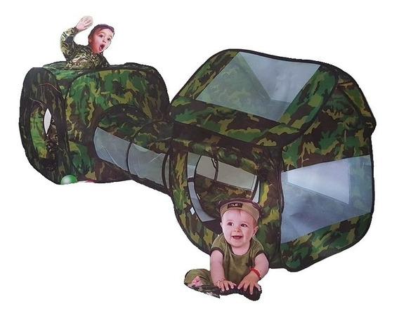 Toca Barraca Infantil 3 Em 1 Com Tunel Camuflada