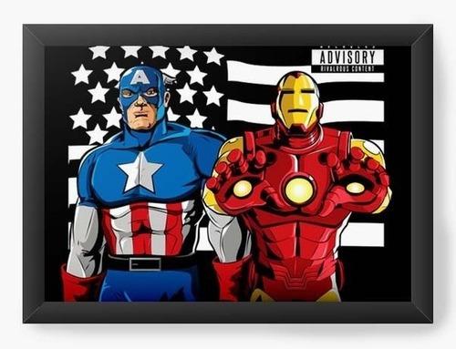 Quadro A3 45x35cm Geekz Capitão America E Homem De Ferro