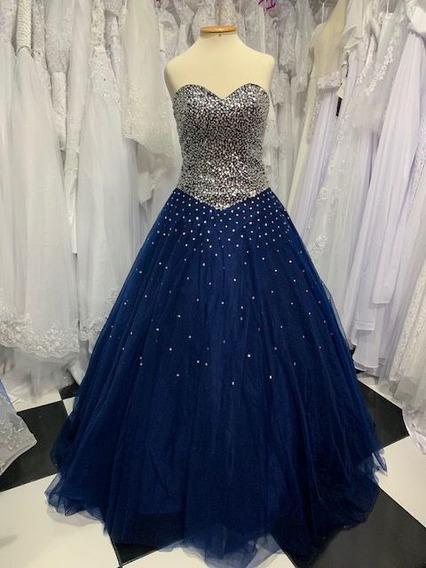 Vestido Debutante Princesa Azul Escuro 15 Anos Brilhos