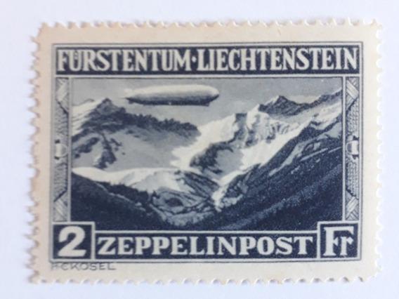 Selo Zeppelin Liechtenstein, 2 Francos, 12xs/juros