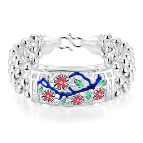 Bracelete Clássico Com Pérolas Banhado A Prata